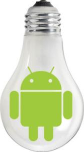 Bombilla Android y nievles de brillo