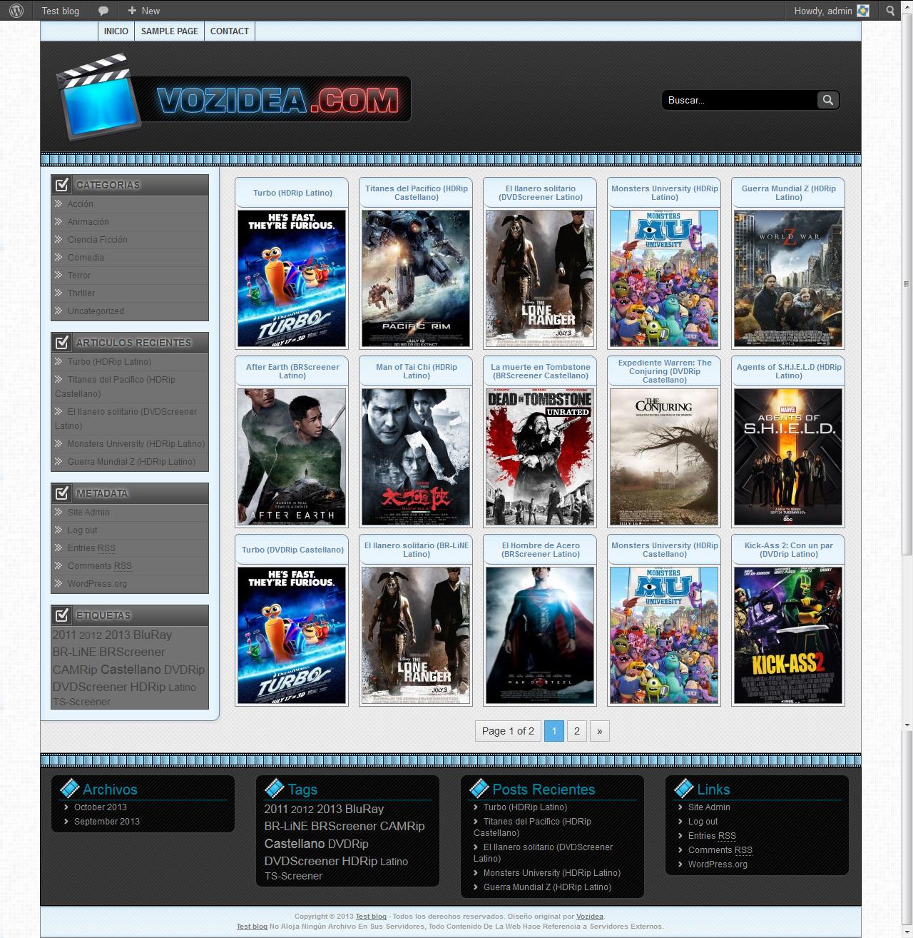Theme de películas gratis para WordPress - Vozidea.com