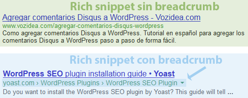 breadcrumb modifica google rich snippet