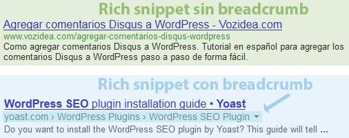 breadcrumb modifica google rich snippet