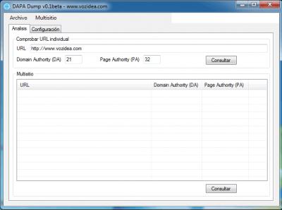 DAPA Dump Domain Authority y Page Authority desktop checker