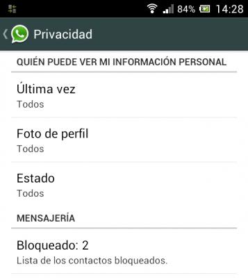 Nuevas opciones de privacidad Whatsapp para Android