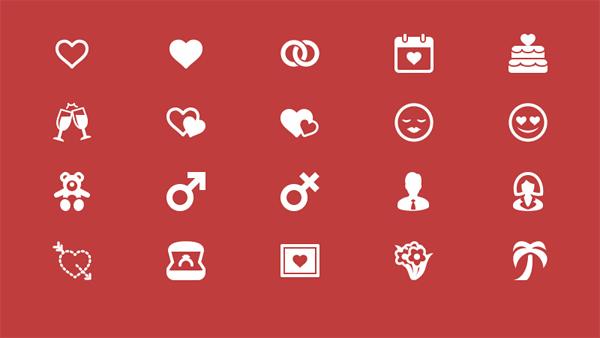 valentine day vector glyph free