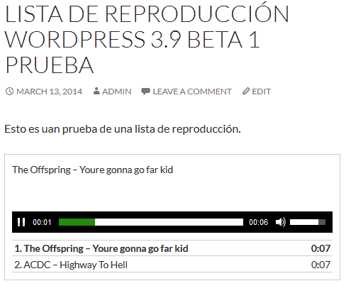 Listas de reproduccion WordPress 3.9