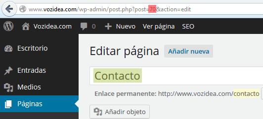 Identificador de página WordPress