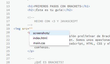 Brackets muestra las rutas de archivos automáticamente