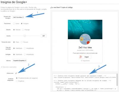 Configurar badge o insignia Google+