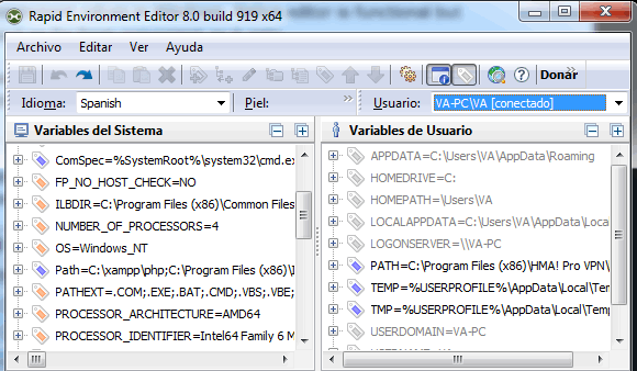 RapidEE editor de variables de entorno para Windows