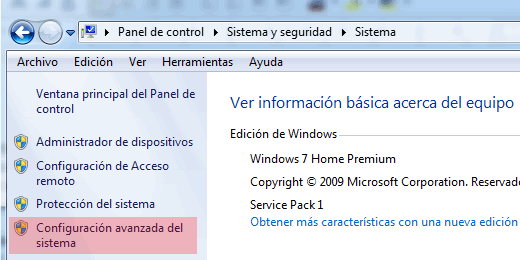 Acceder al editor de variables entorno en Windows 7