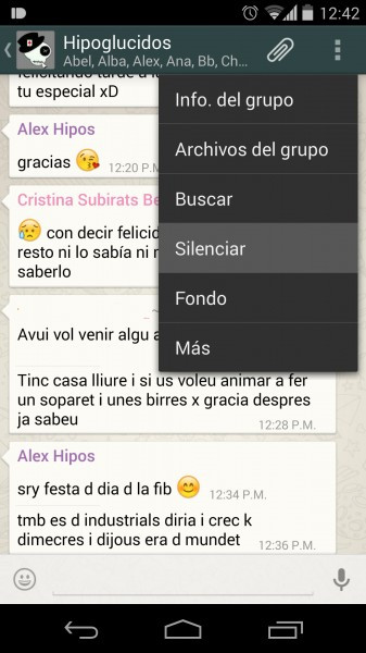 Silenciar notificaciones de grupo WhatsApp