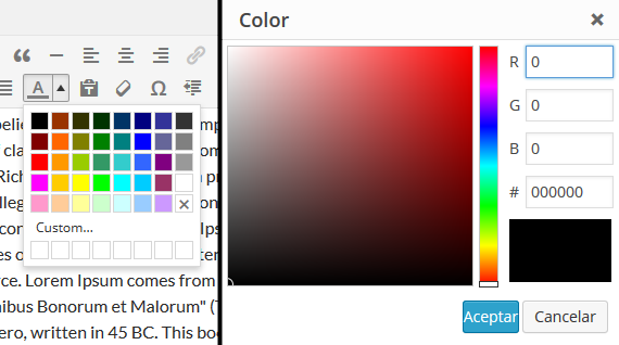 Color picker WordPress 4