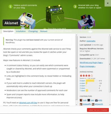 Nueva ventana para instalar plugins en WordPress 4