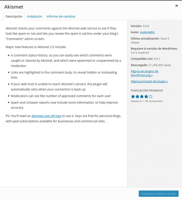 Pantalla de información de plugin WordPress