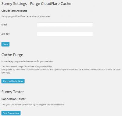 Plugin Sunny para purgar cache de Cloudflare en WordPress