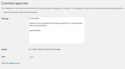 Plugin comment approved WordPress
