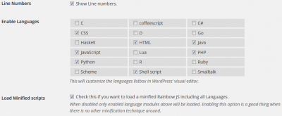 Wordpress Rainbow Hilite opciones