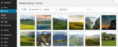 Nueva vista de rejilla en la libreria multimedia de WordPress 4