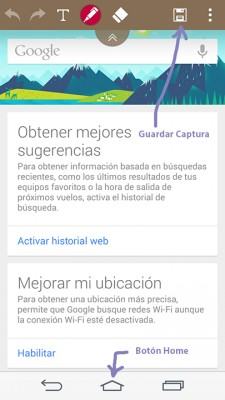 Guardar captura de pantalla con Quickmemo+