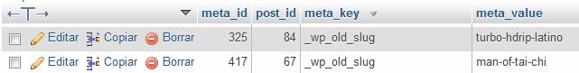 Eliminar slugs en wordpress con phpmyadmin