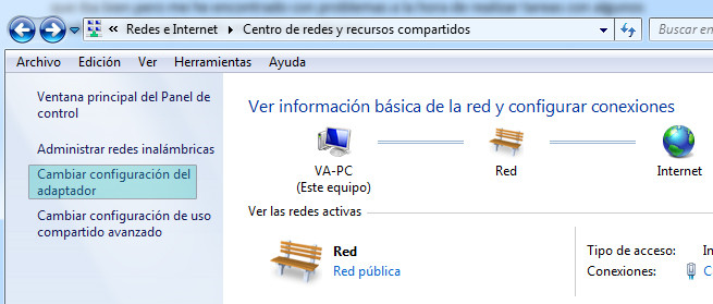 Configuración de adaptador de red en Windows 7