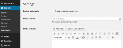 Email de autorrespuesta para formulario de contacto JetPack