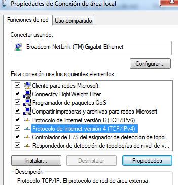 Propiedades conexión ipv4 windows 7
