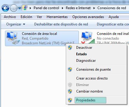 Propiedades de conexión en Windows 7