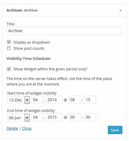Widget Visibility Time Scheduler