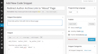 code snippets cpt editar entrada