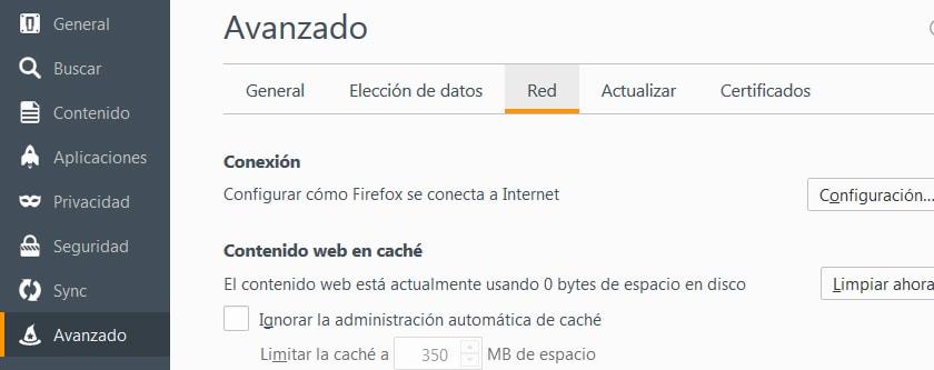 Firefox opciones de red