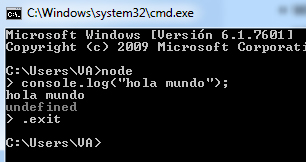 Ejemplo terminal Node.js en Windows
