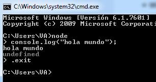 Ejemplo terminal Node.js en Windows