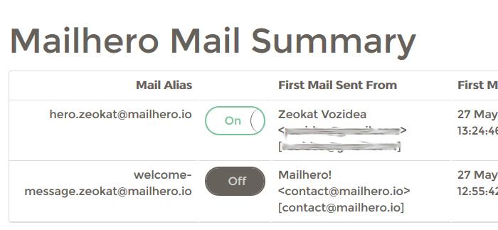Panel de email alias de mailhero para evitar spam