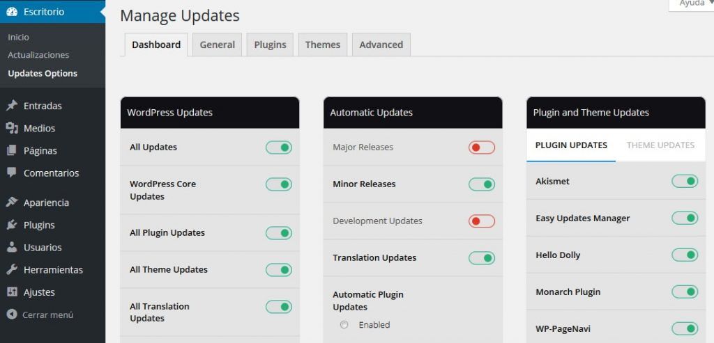 plugin wordpress easy updates manager