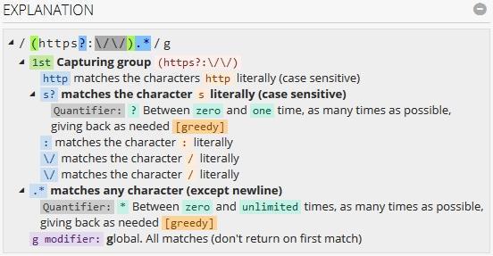 regex101 explicación de la expresión regular