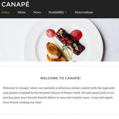 Canapé, un nuevo tema WordPress dirigido a restaurantes