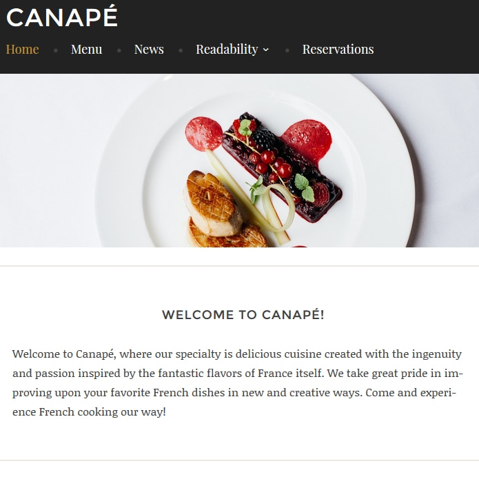 Canap tema wordpress dirigido a restaurantes for Que es un canape