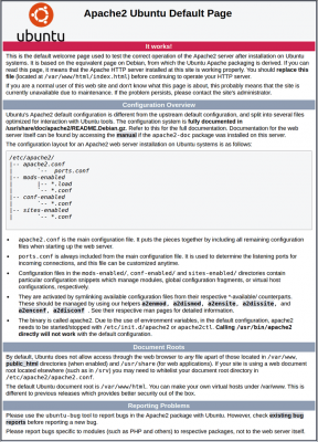 pagina instalación servidor apache por defecto
