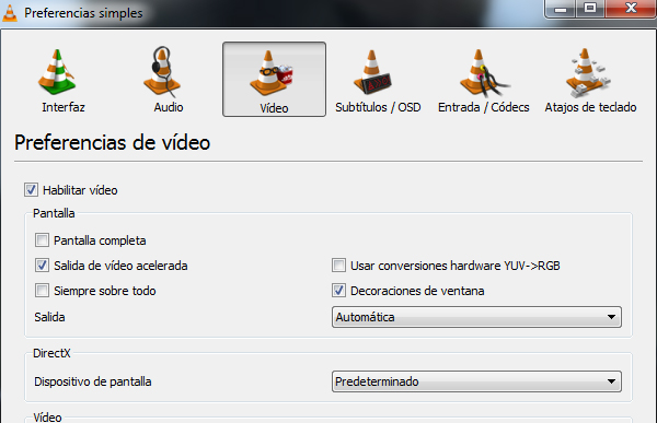 preferencias vlc reproductor