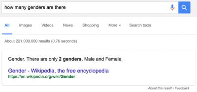 Google dice que sólo hay dos generos