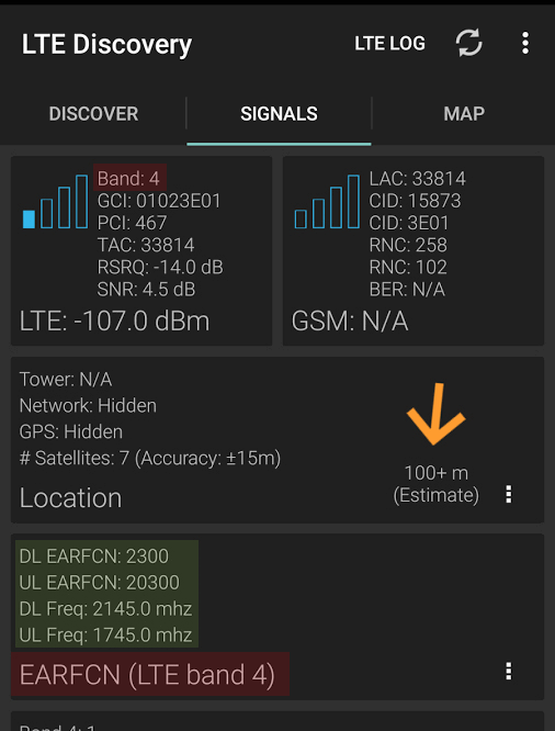 obtener frecuencia y banda en LTE Discovery para android