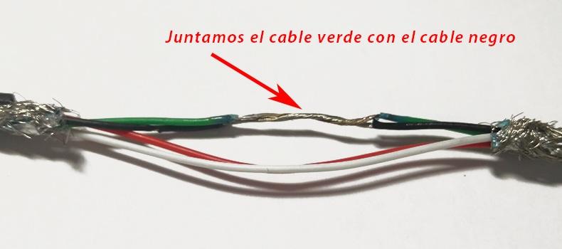 cable edl unión cable verde y negro