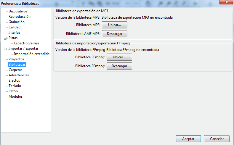 Audacity configurar LAME MP3