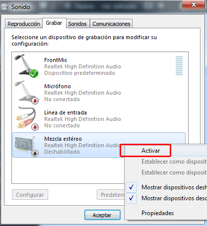 Activar mezcla estereo en Windows