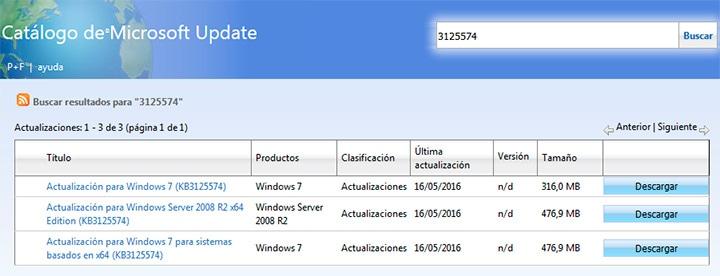 catálogo de microsoft update