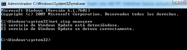 detener servicio windows update
