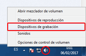 dispositivos de grabacion Windows