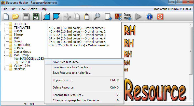 Extraer el icono de archivo ejecutable .exe con Resource Hacker