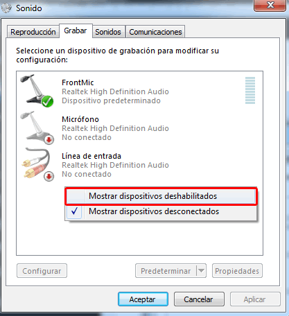 Mostrar dispositivos deshabilitados de grabacion en Windows