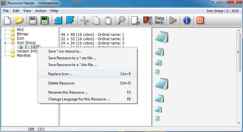 reemplazar icono de archivo ejecutable con resource hacker